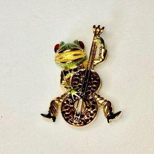 Vintage KJL Enamel Frog with Bass Guitar Brooch